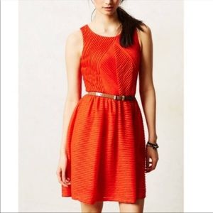 Bordeaux Orange Textured Sleeveless Dress XS